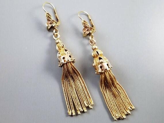 Antique mid Victorian 14k gold long foxtail keyhole pendant drop shoulder sweeper tassel tassle earrings, hinged leverback pierced ear wires