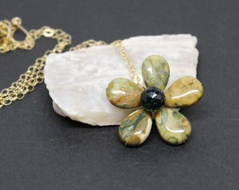 Gemstone Wire Wrapped Pendant Necklace, Wire Wrapped Flower, Ocean Jasper Necklace, Teal Quartz Flower, Green and Yellow Necklace, N17112