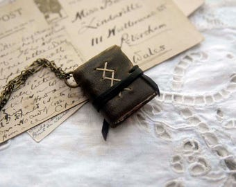 Olive Branch - Miniature Wearable Book, Brown Recycled Leather, Aged Paper - OOAK