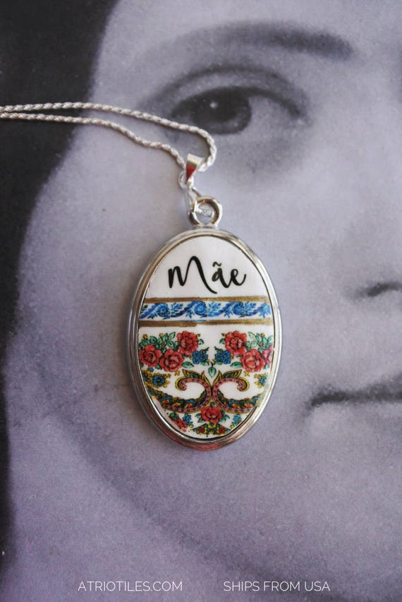 Necklace Mãe Portugal Tile Azulejo Portuguese Antique Porto Blue Mother Viana Portuguese- Gift Box - SHIPS from USA