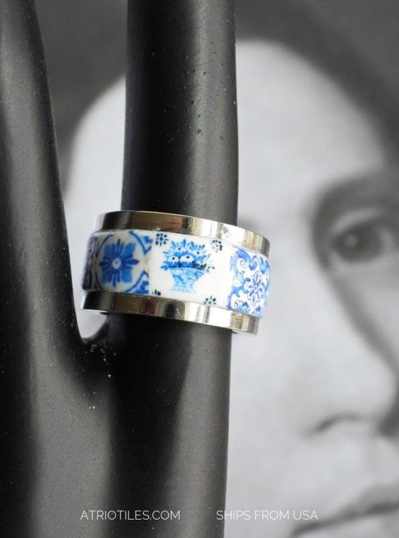 Tile Ring Portugal Stainless Steel Band Azulejos Portuguese Brasil Brazil Portugal Blue size 7 1/2