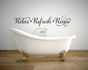 Relax Refresh Renew Decal Bathroom Wall Sticker Spa Decor Vinyl Letters  Home Elegant Fancy Script Heart