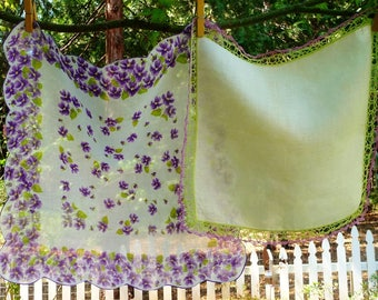Vintage Violet Flowers, Crochet Edge Hankies Handkerchiefs LOT 2