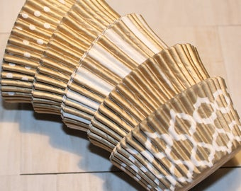 New - Gold Heavy Duty Cupcake Liner Collection (Qty 40) Gold Heavy Duty Baking Cups, Gold Cupcake Liners, Gold Baking Cups, Cupcake Liners