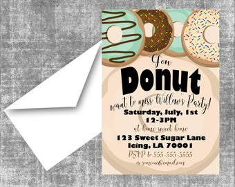 Donut Birthday Party Invitations, Neutral, Girl, or Boy!