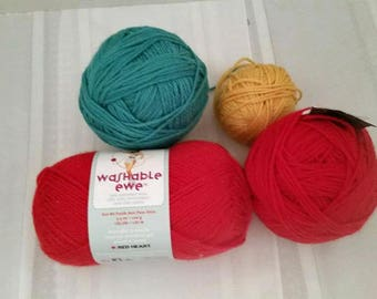Destash Wool Yarn in Red, Gold and Teal