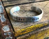 Have Faith Stamped Adjustable Cuff Bracelet