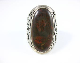 Size 8 1/2 Vintage Petrified Dinosaur Bone Sterling Silver Ring