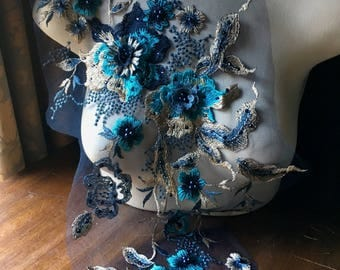Navy Blue, Gold, & Turquoise 3d Lace Applique #1 VERY LONG, Beaded for Couture Gowns, Lyrical or Ballet Costume Design F21 Long