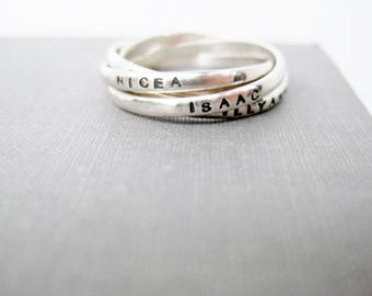 Tiny Quadruple (4) Interlocking Personalized Ring - Tiny Ring, Mother's Ring, Russian Wedding Ring, Kinetic Ring, Resolution Ring