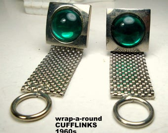 Green Glass Wrap a Round Mesh Cufflinks 1960s,  Vintage Silver w Jelly Belly Cabochons, Geometric Mod Squares,  Mesh Wraps Around the Cuff