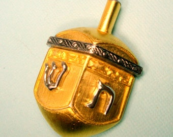Hanukkah Dreidel Pin, Gold and Silver Metal Judaica Brooch, Spin, Spin, Lose or Win, Chanuka Hebrew Letters, Jews, Jewish Holiday, Chanukah