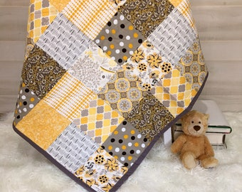 Baby Quilt - Baby Boy Quilt - Crib Blanket - Personalized Baby Quilt - Baby Girl Blanket - Baby Patchwork Quilt - Embroidered Baby Blanket