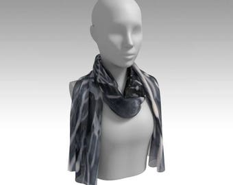 Liquid Lace Chiffon Scarf / Wearable Original Art / Encaustic Painting on 100% Poly Chiffon  / Available in 6 Sizes / Made to Order