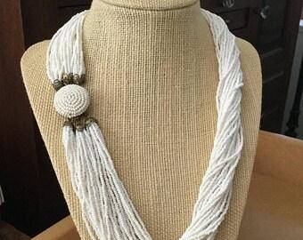 ON SALE - Vintage Torsade Necklace - Pure Milk White Multi-Strand Seed Beads