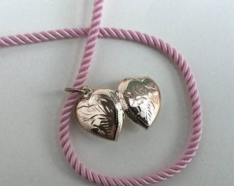 ON SALE - Engraved Puffy Sterling Silver Heart Locket Necklace on a Pink Twisted Cord Necklace Sterling Silver Clasp