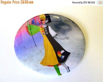 """50% Off SALE Pocket Mirror """"Causing a Stir"""" 2 1/4"""" Round Compact Mirror - Two Tone Girl with Hot Air Balloon Black and White Rainbow"""