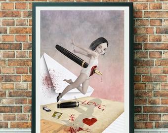 Big Eyed Girl | Pop Surrealism Art | Big Eyes Art | Big Eye Art | A3 Art Print | Written In Blood