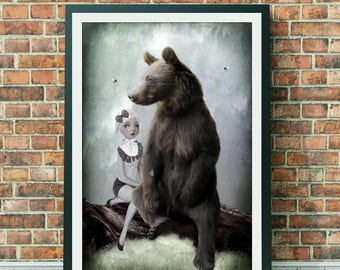 Goldilocks Art Print - Goldilocks & Bear - Fairytale Art Print - Wall Decor