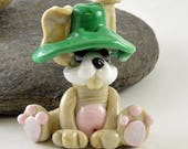 HARE/RABBIT in a green hat, Lampwork Glass Sculpture Collectible, Focal Bead, Izzybeads SRA