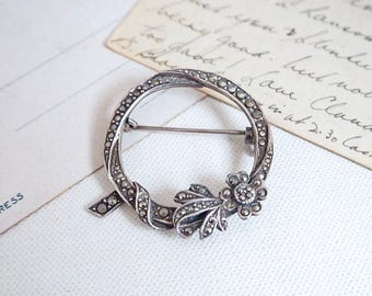 Silver Marcasite Brooch Wreath Pin