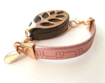 Bellabeat Leaf Bracelet Genuine stamped pearl pink leather with rose gold finish