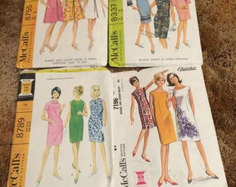 McCall's Vintage Sheath Dress Pattern 60's Uncut Quickie 7196