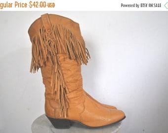 SALE Fringe Brown Leather Boots / DINGO / size 6 1/2