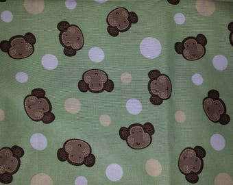Lime Green Fabric with Monkey Faces and Circles (by the yard)