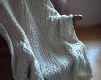 Knit Afghan in Cables Galore in Aran, Blanket, Throw,