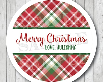 Personalized Christmas Plaid Merry Christmas Stickers, Personalized Christmas Labels, Plaid Christmas Tags