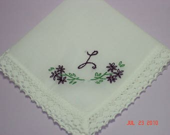 Wedding handkerchief/mother of bride/mother of groom/ bridesmaid hanky/ hand embroidered/dated