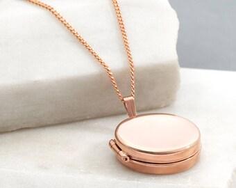 Rose Gold Round Locket, Simple Modern Locket, Contemporary Necklace