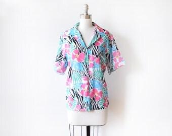 vintage tropical blouse, 80s floral zebra print blouse, 1980s button up top, large l
