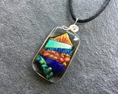 Mountain and Valley Dichroic Glass Pendant