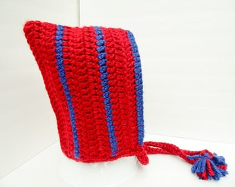 Winter Hood, Red and Blue Hometown Hood, Striped, Ties, Ready to Ship Summer CLEARANCE EVENT