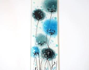Blue Fused Glass Wall Art - Poppy Art - Flower Art - Handmade Glass Gift - Wall Art - Blue Poppy Art - Glass Poppy Wall Art - EH 686