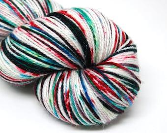 "Glam Rock Sparkle Sock Yarn - ""Twisted Christmas"" -  Handpainted Superwash Merino - 438 Yards"