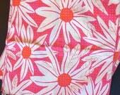 6 Vintage Hot Pink Flower Power Vera Cotton Cloth Napkins 1960s 1970s