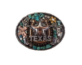 Western Texas Longhorn, Rhinestone and Turquoise Belt Buckle