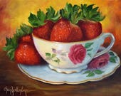 RESERVED for H, Custom Painting,Strawberries In Teacup,Original Oil Painting by Cheri Wollenberg