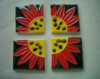 PBO - STAMPED DAISIE Squares - Ceramic Mosaic Tiles