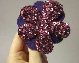 CLEARANCE Sparkling Flower Barrette Hair Clip Purple and Burgandy