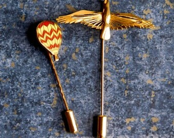 Lot of 2 Goldtone Stick Pins - Signed Monet Bird w/ Outstretched Wings - Red and Yellow Hot Air Balloon - 1970s-ish Lapel Pins - Scarf Pins