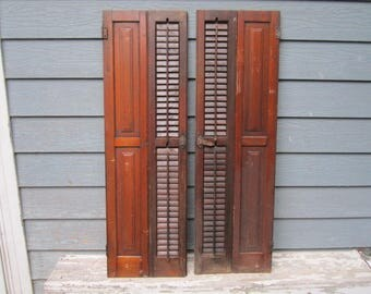 """Antique Circa 1880 Set of Louvered 46"""" Wood Shutters Lot No.4"""