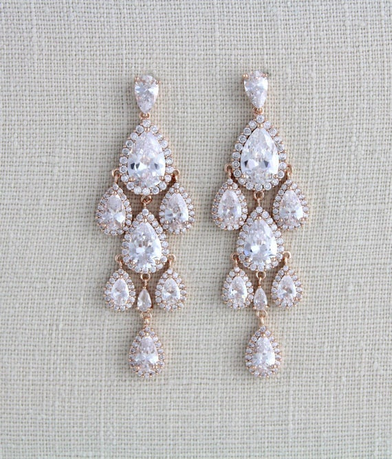 Rose Gold Chandelier earrings Rose Gold Bridal earrings