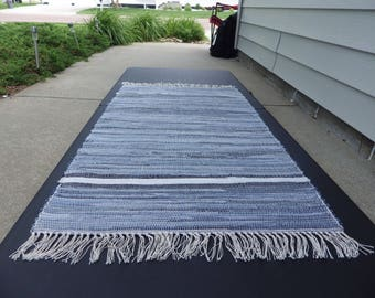 """Hand Crafted Denim with Navy and Light Border (K) Rag Rug 25"""" x 47"""""""