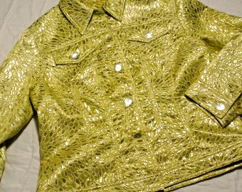 """Vintage shiny lime green and yellow """"jean-style"""" jacket"""