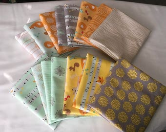 Good Natured Fat Quarter Bundle Riley Blake Out of Print Children Quilting Foxes Squirrels Wood Trees Yellow Orange Mint piecesofpine
