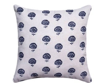 Navy STUFEFD Floral Pillow - Robert Allen Hand Flora Indigo Navy Throw Pillow - Navy Blue Accent Pillow - Blue Floral Cushion - Free Ship